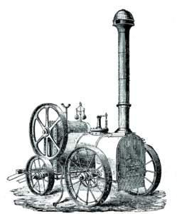 La protagonista dell'età pionieristica della meccanizzazione fu la motrice a vapore. Questa incisione mostra un locomobile Tuxford del 1855 (da Giaccomelli, Le più recenti m acchine e strumenti rurali, Treviso 1864).