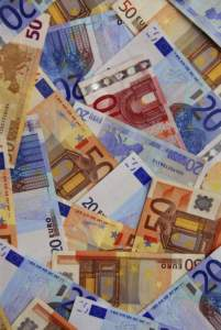 Background of european union currency paper bills